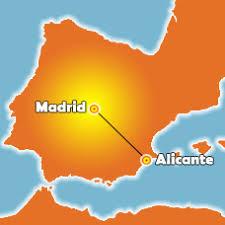 Mapa de España con el recorrido entre Madrid y Alicante señalado.