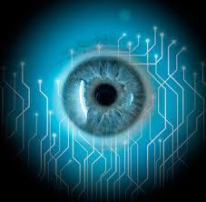 Visión artificial. Primer plano de un ojo.