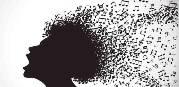La silueta de una cabeza de la que salen centenares de notas musicales