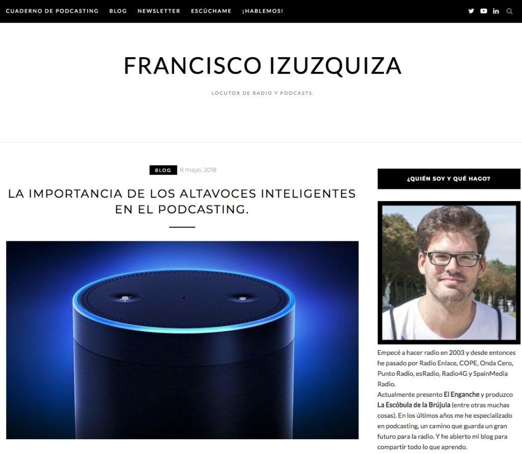 Captura de pantalla del blog franciscoizuzquiza.com