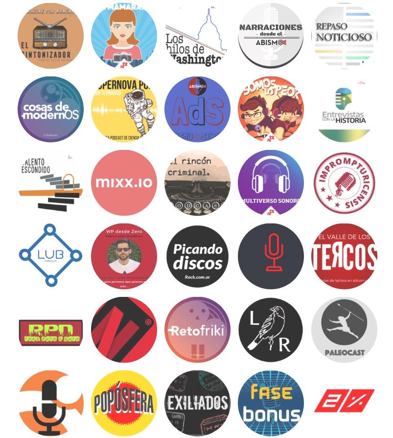 Diferentes Caratulas de podcasts de la web de la Asociación Podcast