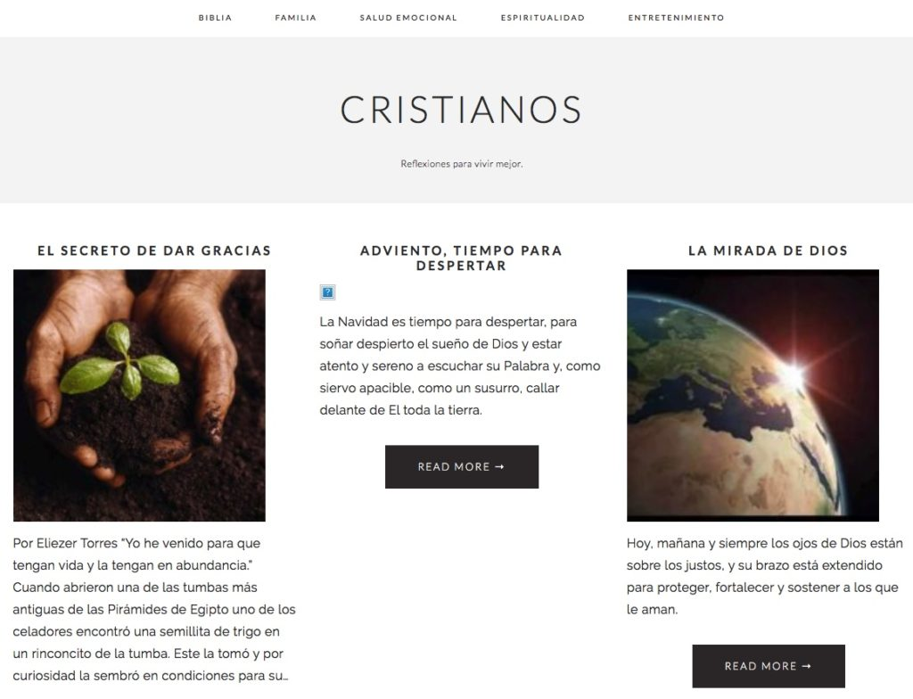 Captura de pantalla de la web cristianos.com