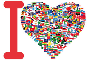 Un corazón con todas las banderas del mundo.