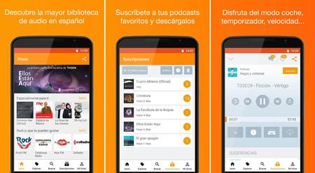 Varias capturas de pantalla del programa para escuchar podcasts iVoox