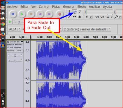 Cómo editar un podcast en audacity el Fade in y el Fade out