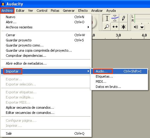 Cómo editar en Audacity. Importar Audio en Audacity