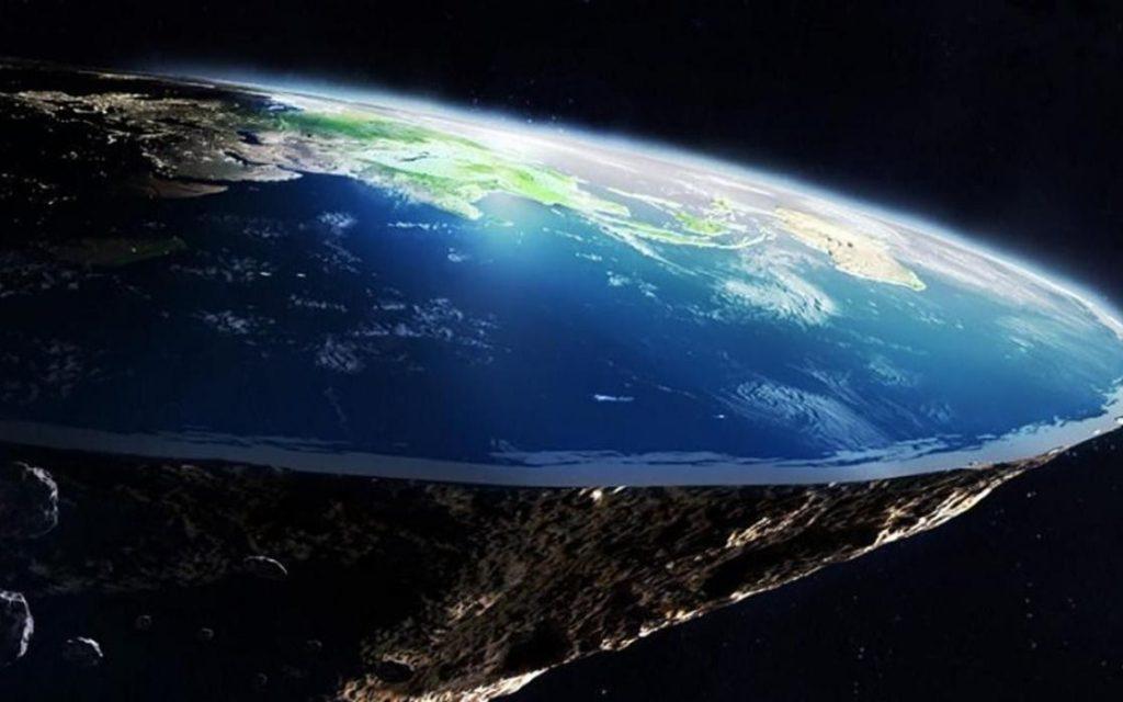 Fotomontaje de la Tierra con apariencia plana
