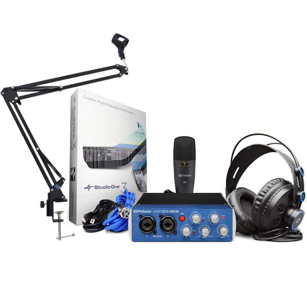 Pack PreSonus Studio con tarjeta de sonido, micrófono de condensador, auriculares y brazo articulado