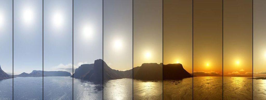Raccord de iluminación. Aquí se ve claramente como varía la iluminación dependiendo de la hora del día